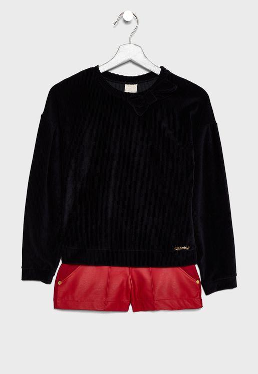 Kids Bow Detail Sweatshirt + Shorts Set