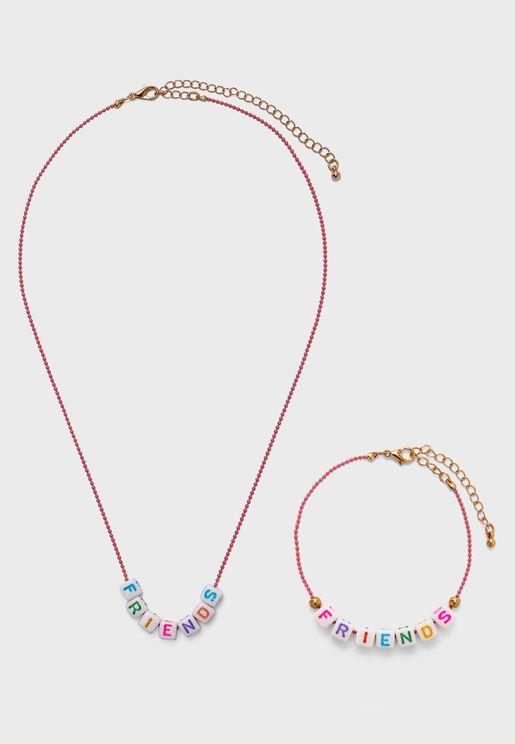 Kids Multipack Letter Detail Necklace