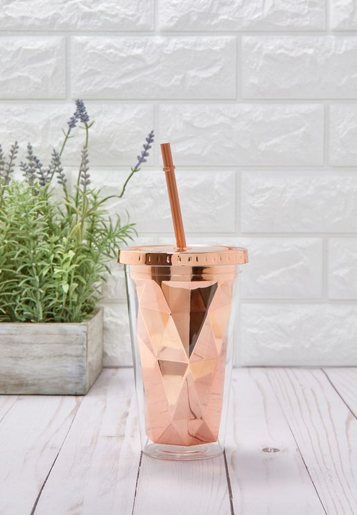 Rose Gold Geometric Flask