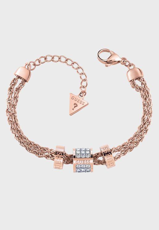 3 Logo Crystal Beads Bracelet