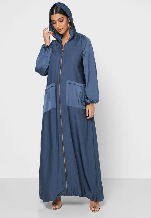 Hooded Zip Through Abaya