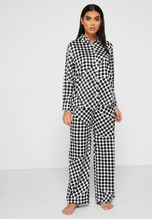 Polka Dot Shirt Pyjama Set