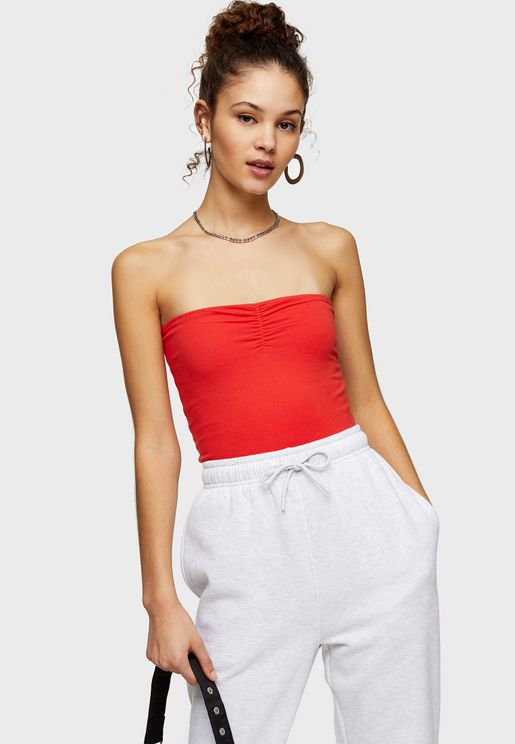 Ruched Bandeau Crop Top