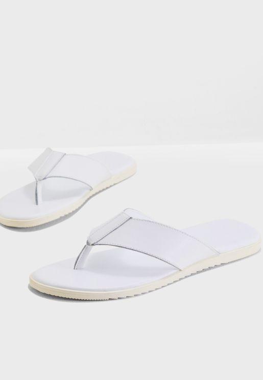 Faux Leather Casual Flip Flops