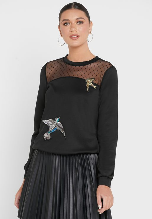 Dotted Mesh Detail Patch Sweatshirt