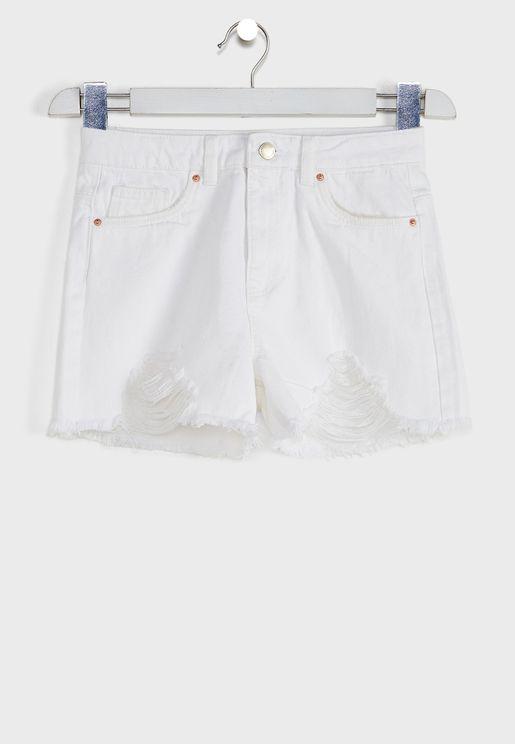 Kids Ripped Denim Shorts