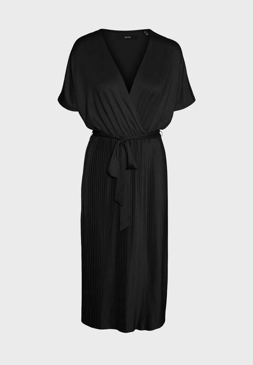 Tie Waist Surplice Dress