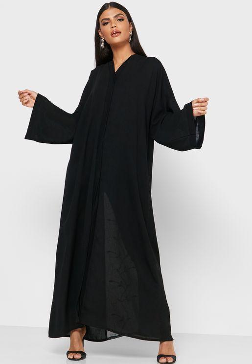 Embroidered Mesh Detail Abaya