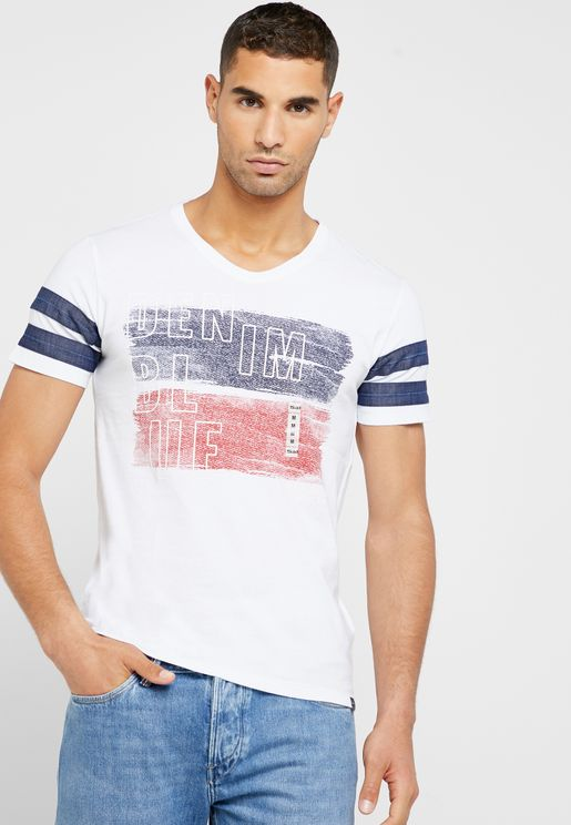 Stripes Detail Crew Neck T-Shirt