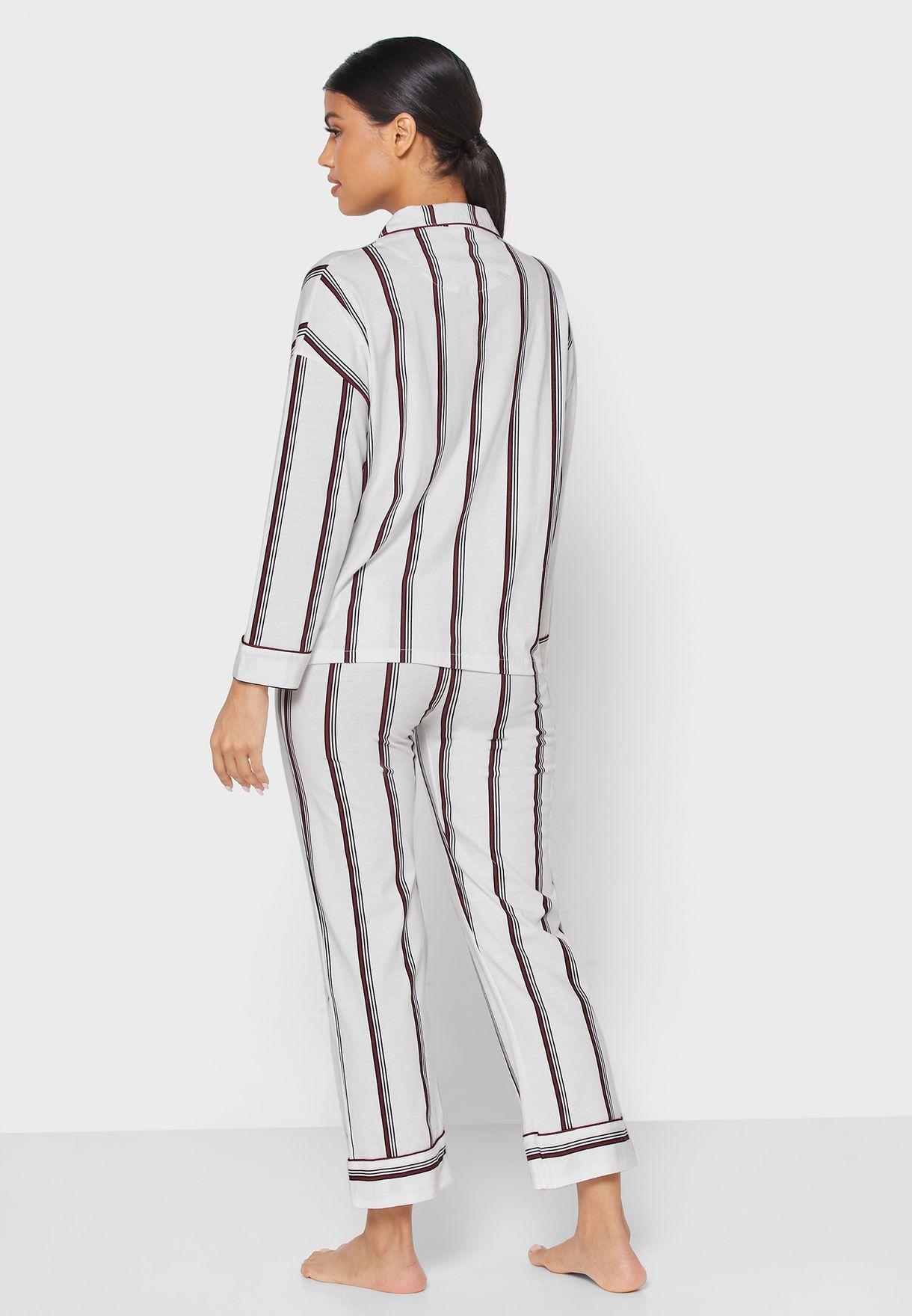 Striped Shirt Pyjama Set