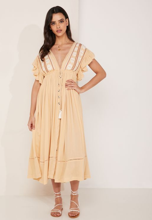 Pleated Ruffle Sleeve Dress