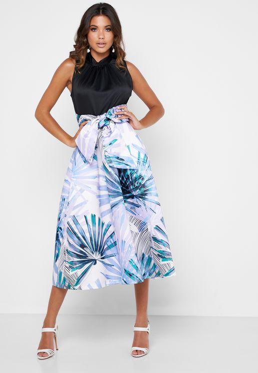 Ruched Neck Tie Waist Printed Skirt Dress