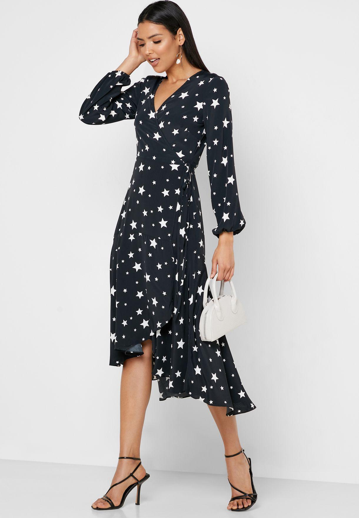 Star Print Wrap Dress