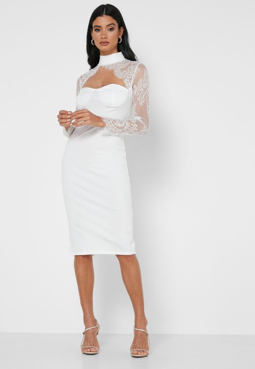 Lace Keyhole Yoke Midi Dress