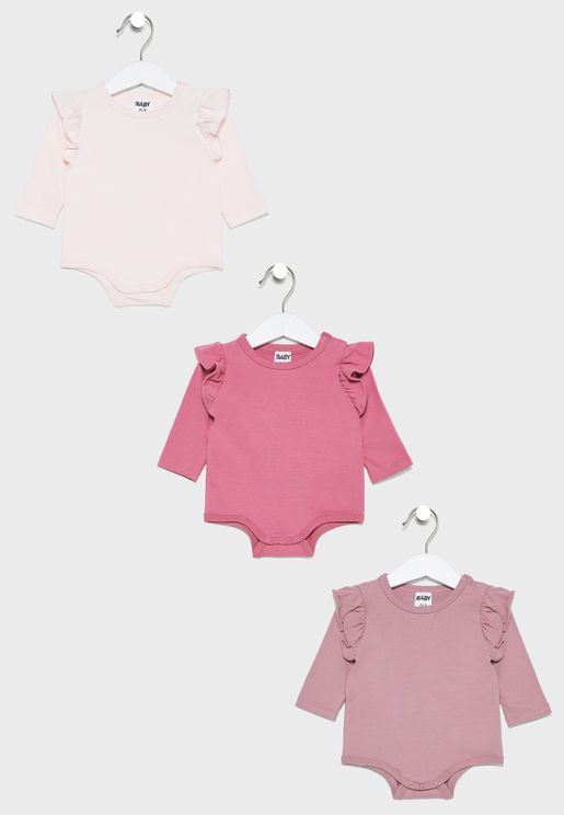 Kids 3 Pack Ruffle Bodysuit