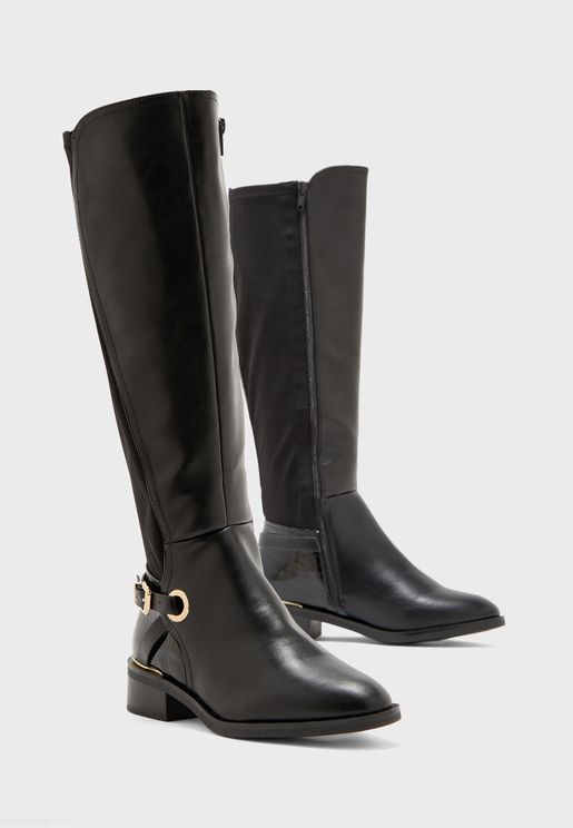 Wide Fit Buckle Detail Trim Over Knee Boot