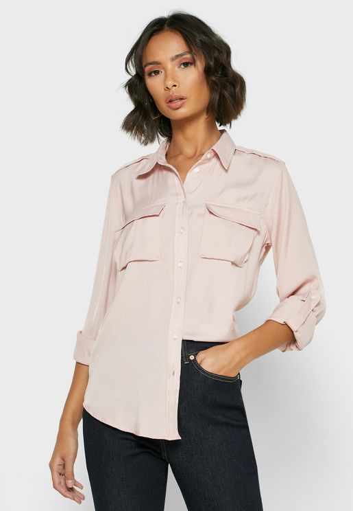 Pocket Detail Oversized Shirt