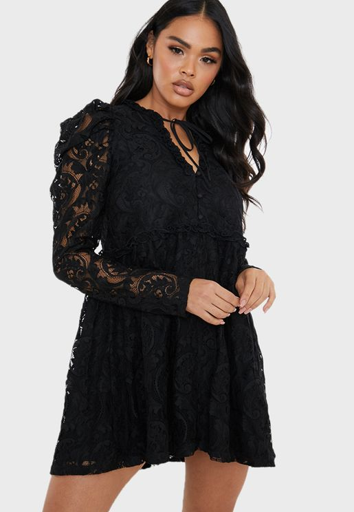 Lace Frill Trapeze Dress