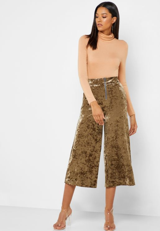 Zip Detail Wide Leg Pants