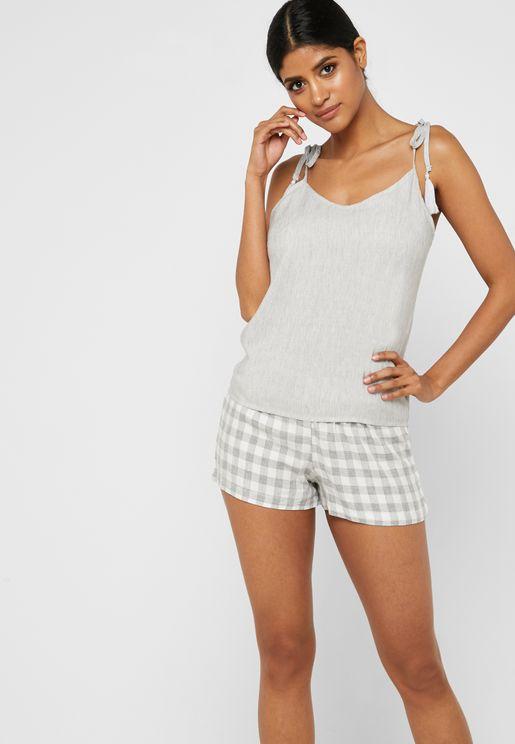 Sleeveless Top & Checked Shorts Pyjama Set