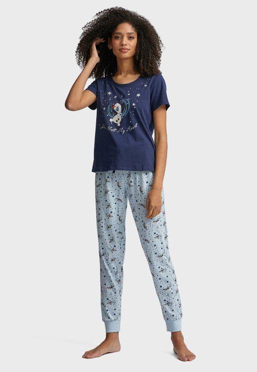 Olaf Print T-Shirt & Pyjama Set