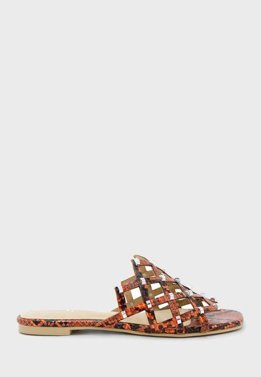 Snakeskin Flat Sandal