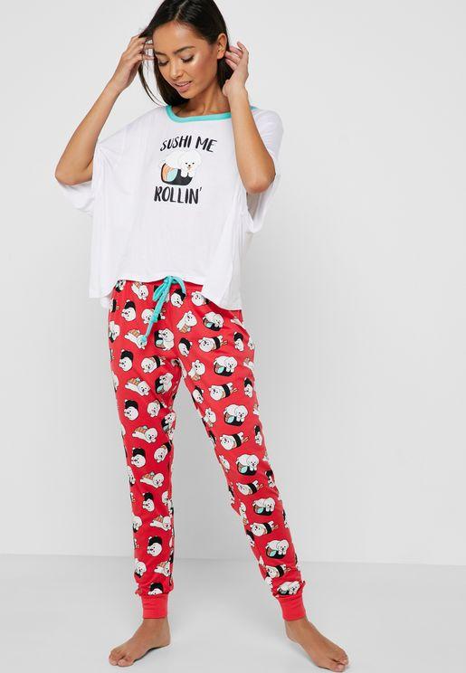 Slogan Short Sleeve T-Shirt & Pyjama Set