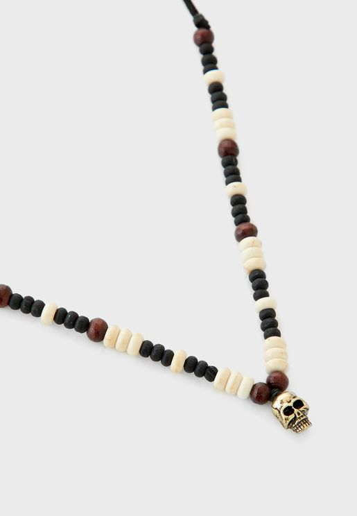 Shipwrecked Beaded Skull Necklace