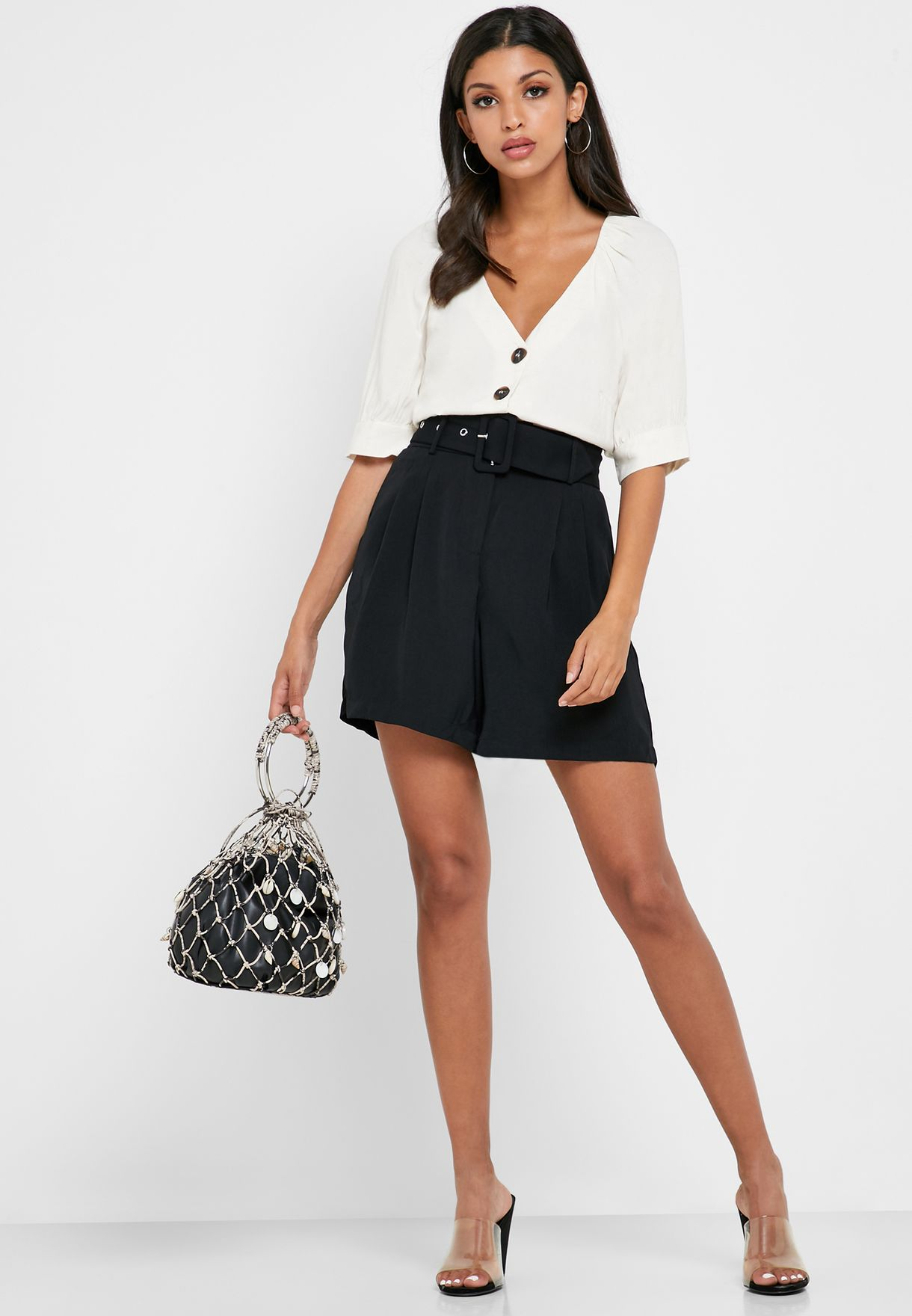 Button Down Cuffed Sleeve Top