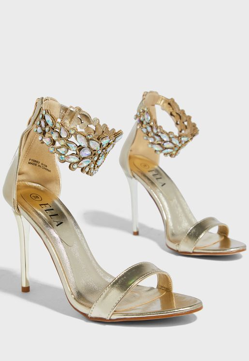 Stone Encrusted Ankle Strap Stiletto Sandal