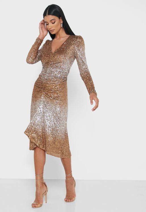 Abito Front Ruched Shimmer Dress
