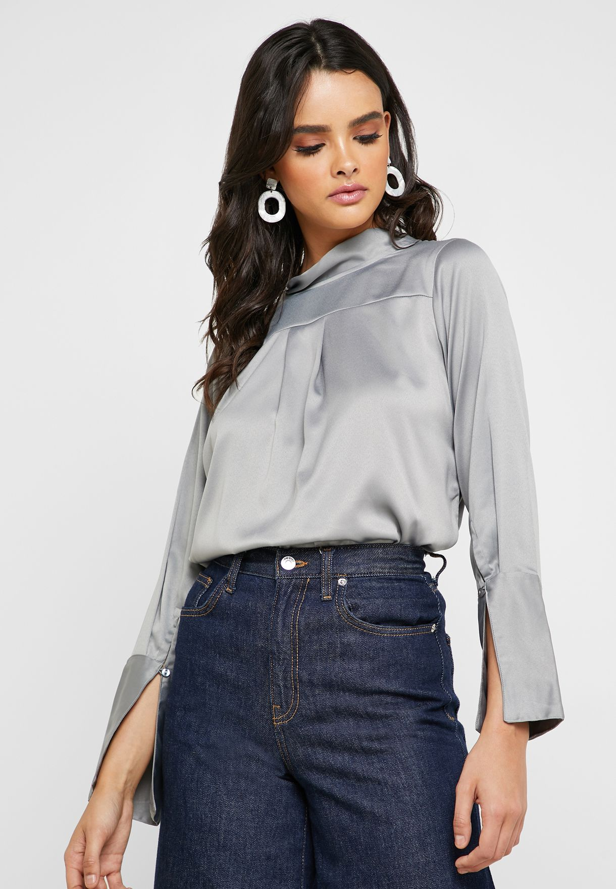 Satin Pleated Tie Blouse