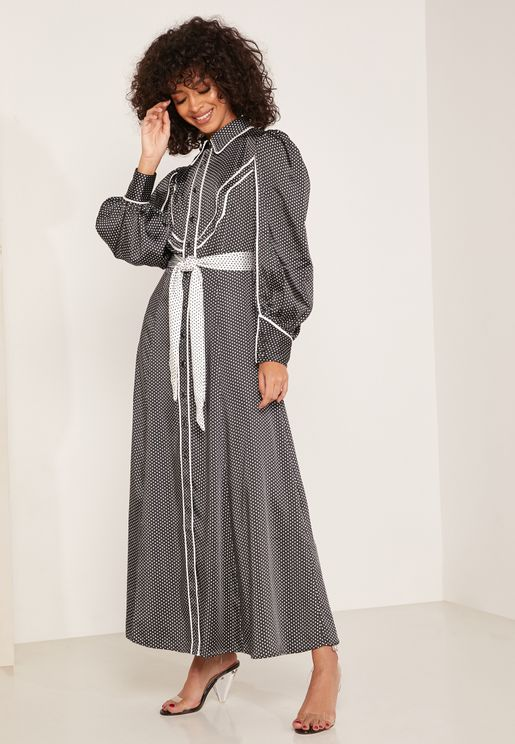 Nearby Tie Waist Piping Detail Shirt Dress