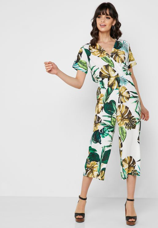 2ca19cd5e6ab Palm Print Wrap Front Cropped Jumpsuit