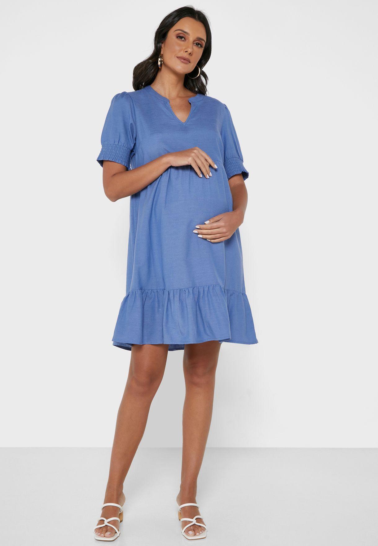 فستان منسدل بياقة V