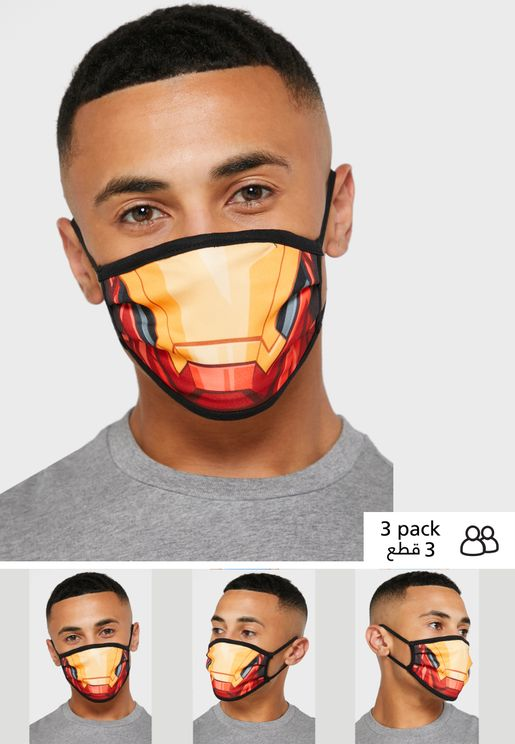 Pack of 3 Ironman Fabric Face Cover Mask