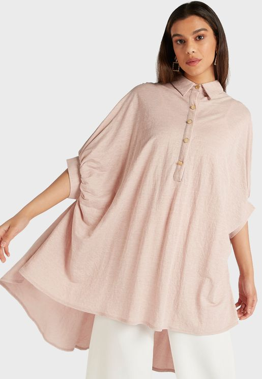 Half Button Down Bat Wing Sleeves Tunic