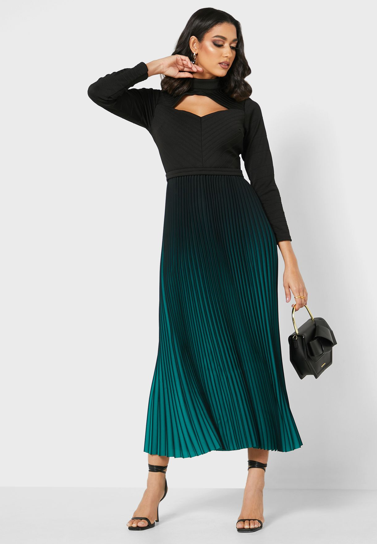 Pleated Cut-out Neck Dress