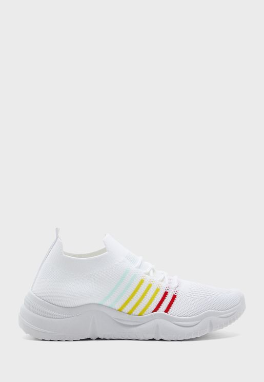 Rainbow Sole Stripe Knit Sneakers