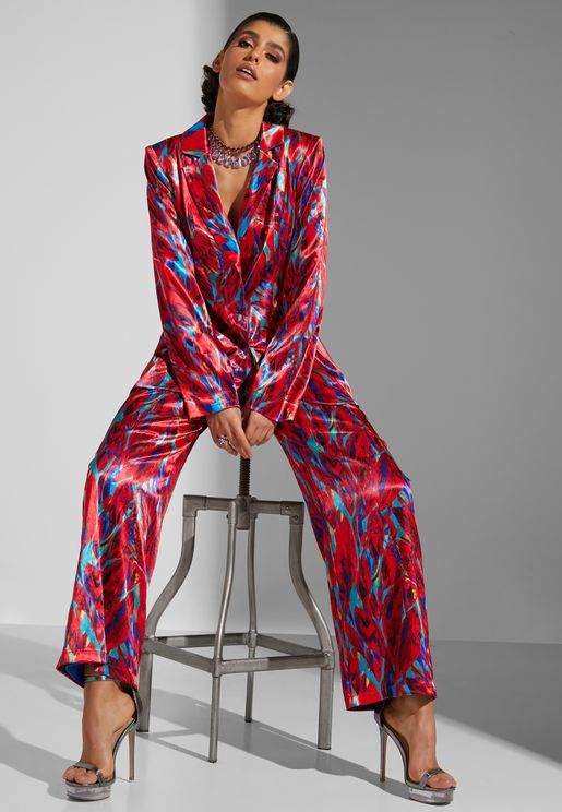 Abstract Blazer And Pant Suit Set
