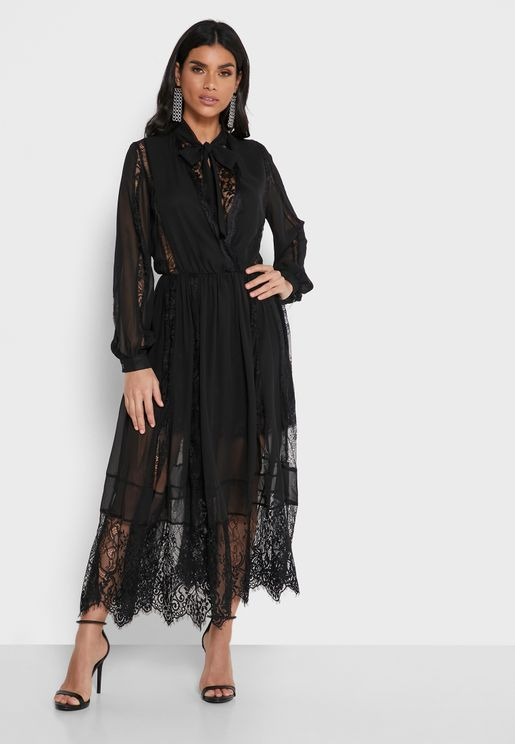 Chiffon Lace Trim Dress