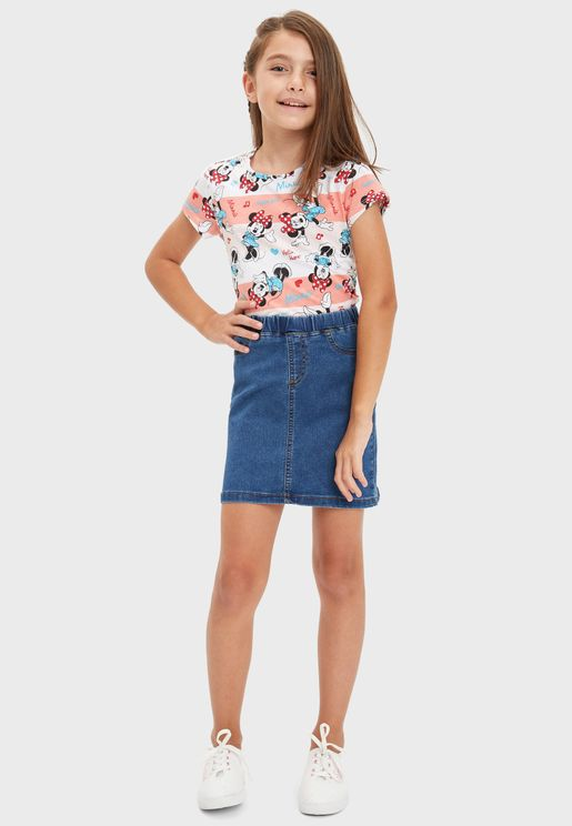 Kids Light Wash Denim Skirt