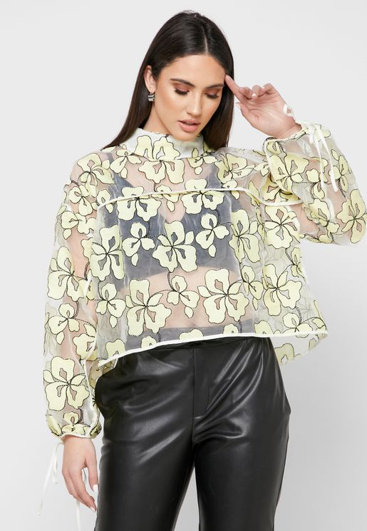 Floral Print Mesh Cropped Top