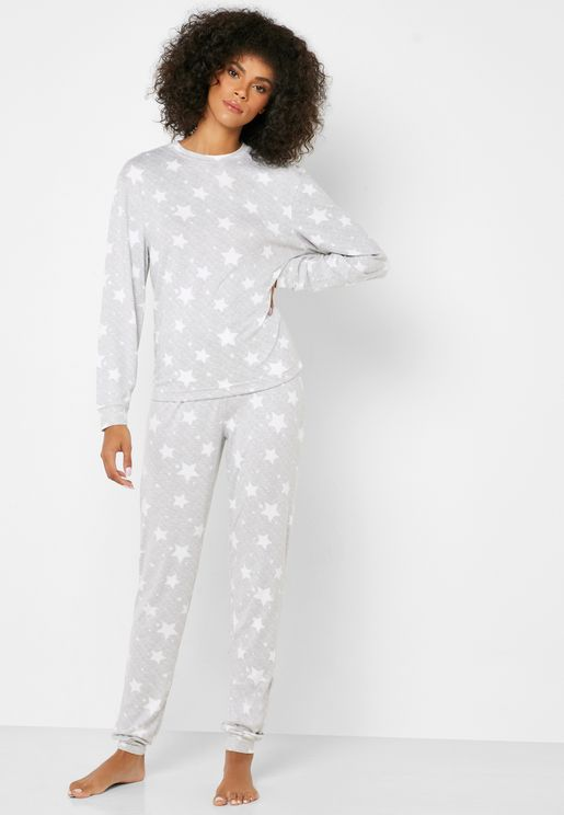 Star Print T-Shirt & Cuff Pyjama Set