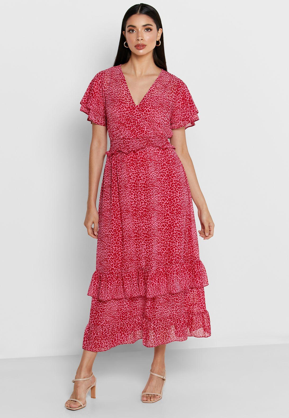 فستان مكشكش بطبعات جلد حيوان