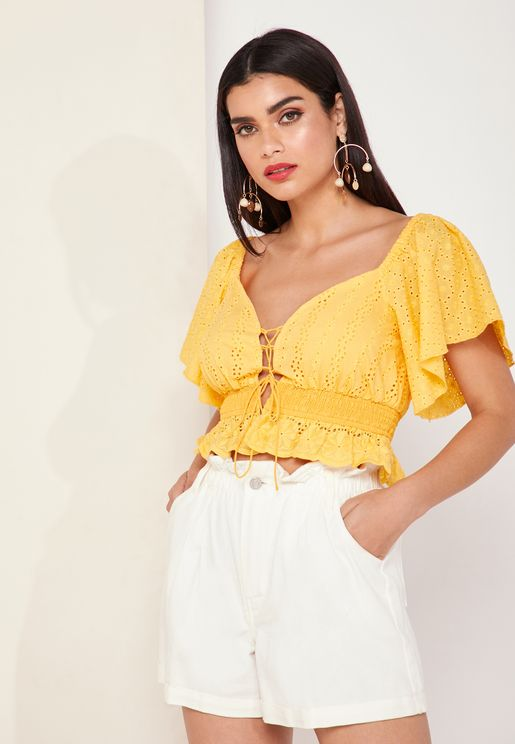 Honeysuckle Ruffle Hem Crop Top