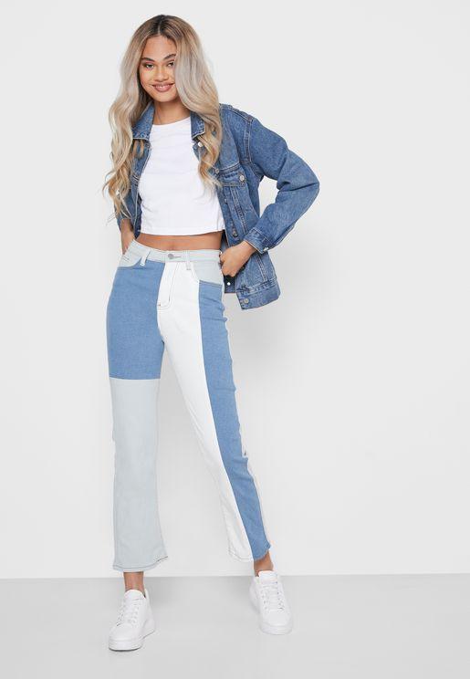 جينز بنمط كتل الألوان