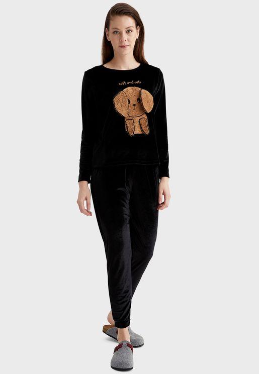 Velvet T-Shirt & Pyjama Set