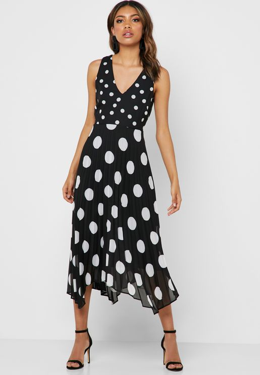 Spot Print Asymmetric Dress