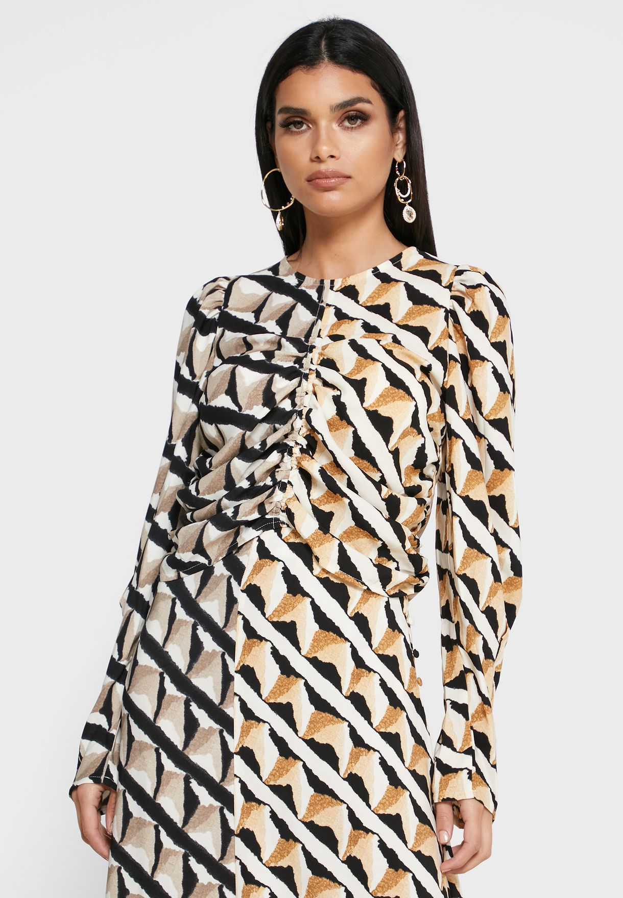 Ruched Detail Printed Top